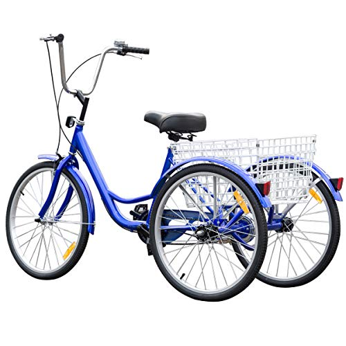 GYMAX 3-Wheel Bicycle, Adult Tricycle Trike Cruise Bike with Adjustable Seat and Bell Brake Basket, for Recreation, Shopping,Exercise (Blue, 24″)