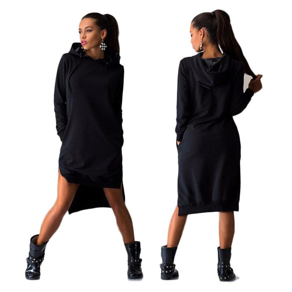 Gotd Spring Women Sweatshirt Dress Double Split Hoodie Pullover Pockets Sweater (M, Black) by GOTD