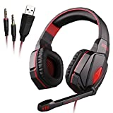 G4000 Bass Professional Gaming Headset, USB Power Supply LED Dazzle Light Lamp, PP Raw Materials, Suitable for Use With a Microphone Game Player from DB.WOR sales - Red Black