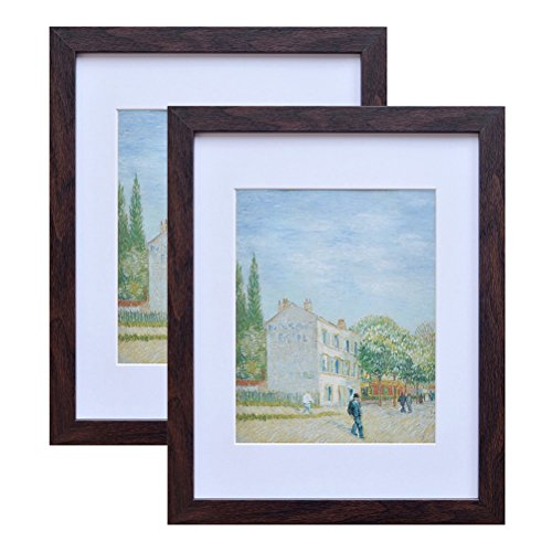 - 11x14 Wood Picture Frame - Flat Profile - 2 pcs - for Picture 8x10 with Mat or 11x14 Without Mat (Walnut)