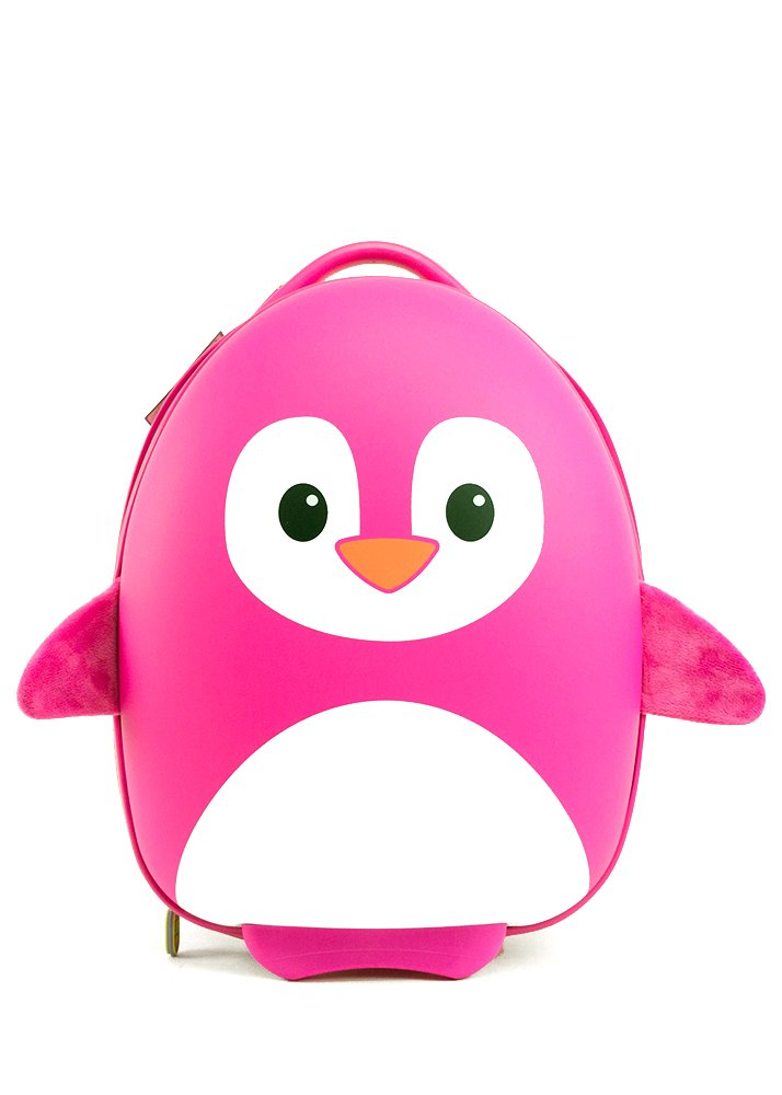 BB Bag: Cute Animal Travel Trolley Luggage for Kids - Pink Penguin