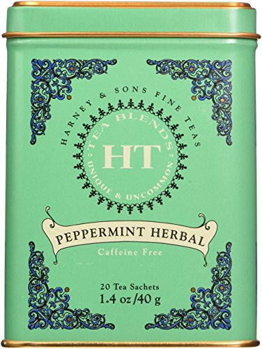 Harney & Sons Peppermint Herbal Fine Classic Tea Tin - Caffeine-Free Herbal, 20 Sachets, 1.4 Ounces