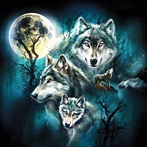Daoroka 5D Diamond Painting Full Square Drill 4 Wolf and Moon Wall Arts 3D DIY Diamond Embroidery with Rhinestones Cross Stitch Kit Crafts Decor (30x30cm)
