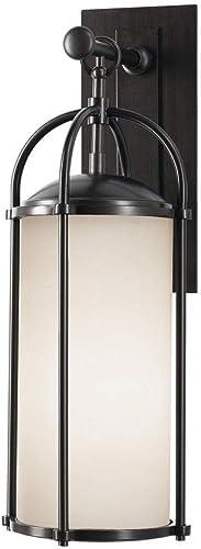 Feiss OL7601ES Dakota Outdoor Patio Lighting Wall Lantern, Bronze, 1-Light 8 W x 21 H 150watts