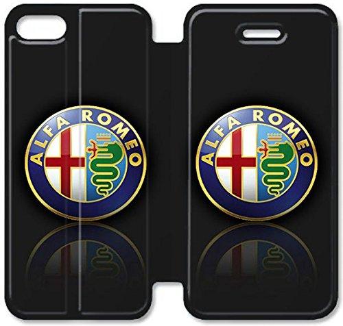 Flip étui en cuir PU Stand pour Coque iPhone 5 5S, bricolage 5 étui de téléphone cellulaire Coque Case 5S Logo Alfa Romeo 3 K3O5VY Coque iPhone en cuir Générique