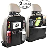 OYRGCIK Backseat Organizer for Kids, 2 Type (A+B) Kick Mats Back Seat Car Protector with Multi Pocket Storage Bag Holder for iPad Tablet Bottle Tissue Box Toys Vehicles Travel, 2 Pack Black