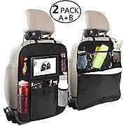Backseat Car Organizer for Kids, OYRGCIK Kick Mats Back Sear Car Protector with Multi Pocket Storage Bag Holder for iPad Tablet Bottle Drink Tissue Box Toys Vehicles Travel Accessories (Black, 2 Pack)
