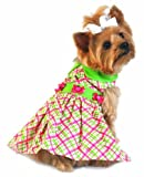 Doggie Design Plaid Dog Dress with Lady Bug (Cotton) – Pink and Green (S) For Sale