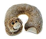 Puzzled Monkey Super-Soft Stuffed Plush Travel Neck Pillow Cuddly Animal - Animals / Wild Animals / Zoo Animals Theme - 11 INCH - Great head Support - Item #5795