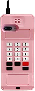 iPhone 8 Plus Case, iPhone 7 Plus Case, iPhone 6S Plus Case, iPhone 6 Plus Case, Cute Retro Classic Cellular Phone Shaped Soft Silicone 3D Cartoon Cover Rubber Protector for iPhone 6+ 6S+ 7+ 8+ (Pink)