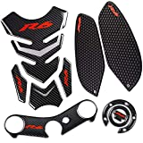 yamaha r6 tank pad - REVSOSTAR Real Carbon Fibre Gas Cap, Anti Slip sticker, Triple Tree Front End Upper, Top Clamp Decal Stickers, Tank Pad, Tank Protector for Yzf R6, 4 Pcs Per Set
