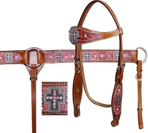 Showman Horse Alligator Print Headstall, Breast Collar, and Split Reins Set with Cross Conchos and Rhinestones (Pink)
