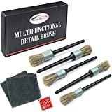 Master Detailing Brush Set - 5 Different Sizes - Free Microfiber Towel - Premium Natural Boar Hair - Plastic Handle - No Shed Bristles - For Cleaning Engine, Wheel, Interior, Air Vent, Car, Motorcycle