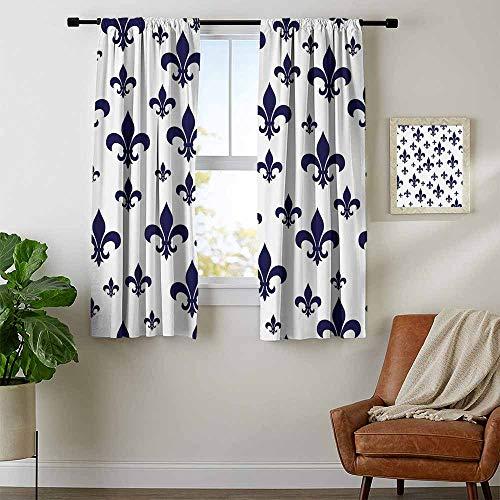Mozenou Navy Blue Decor, Curtains, Various Sized Classic Fleur de Lis Patterns Royal Retro Style Antique Decor Living, Curtains for Kitchen, W63 x L45 Inch Gray Dark Blue