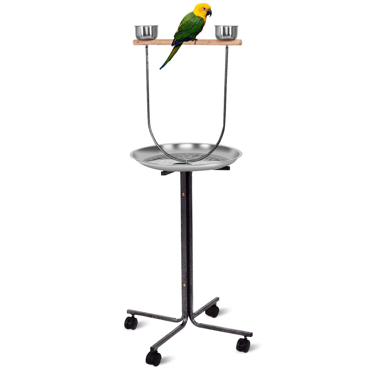 Giantex 51'' Pet Bird Play Stand, Wood Bar Large Stainless Steel Tray Feeder Parrot Perch W/ 2 Feeding Bowls & Locking Wheels, Parrot Pet Bird Play T-Stand by Giantex