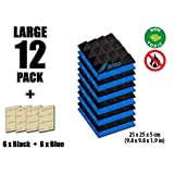 Arrowzoom New 12 Pack of Blue & Black (25 X 25 X 5cm) Soundproofing Pyramid Acoustic Foam Studio Absorbing Tiles Pads Wall Panels (BLUE&BLACK)