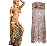 Tuvana Beach Swimsuit Swimwear Bikini Cover Up Hollow Crochet Dress and Skirt Two Styles in One
