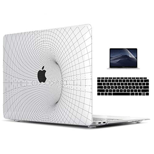 TwoL Transparent 3D Tunnel Grid Hard Shell Case & Keyboard Cover & Screen Protector for New MacBook Air 13 inch Retina 2018 2019 Release ()