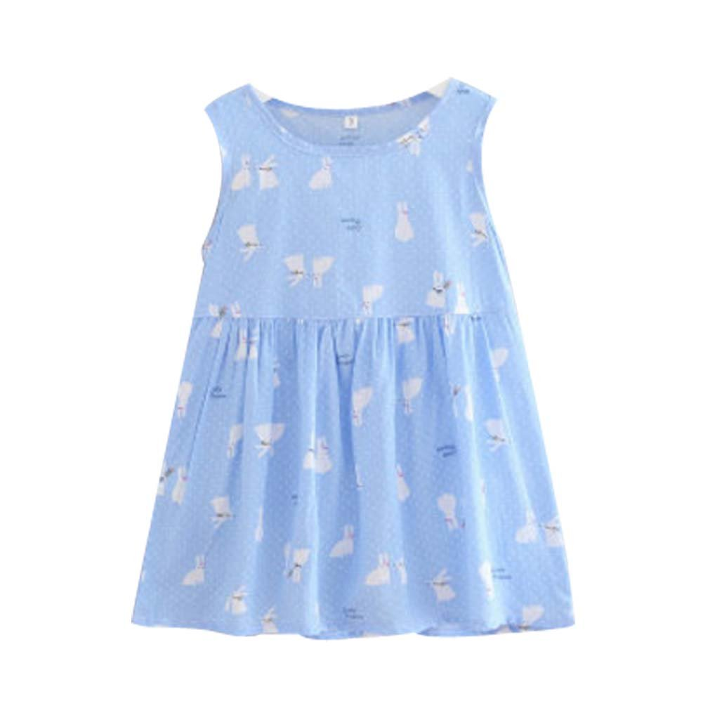 Koala Superstore [O] Kids' Pajama Home Nightdress Sleeveless Cotton Dress Vest Skirt for Girls