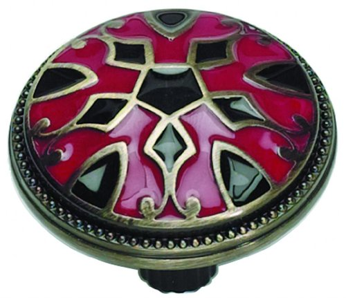 Atlas Homewares 3186-R/B 1.5-Inch Canterbury Knob from The Canterbury Collection, Antique Brass Material with Enameling Lacquer, Black and Red