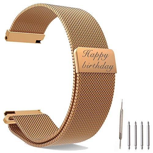 sonalized Message Engrave Rose Gold Watch Band Fully Magnetic Closure Clasp Mesh Loop Milanese Stainless Steel Metal Replacement Band Bracelet Strap for Men's Women's Watch(22MM) (Personalized Stainless Steel Watch)