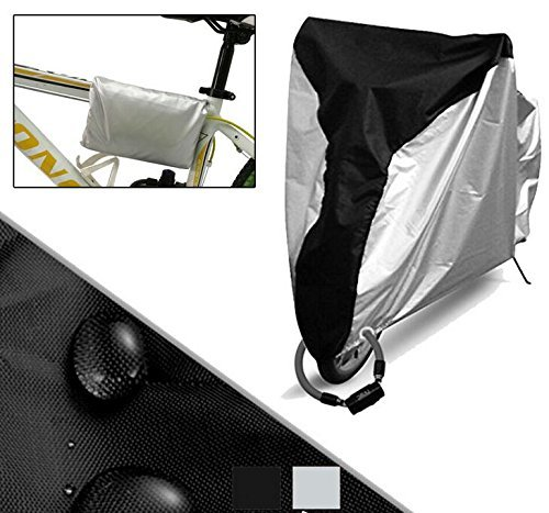 Newest Bicycle Cover, Rain Proof Dustproof Heavy Duty Bike Seat Protective cover with Stainless Steel Anti-theft Lockhole [Black+Silver] XL (Heated Bicycle Seat)