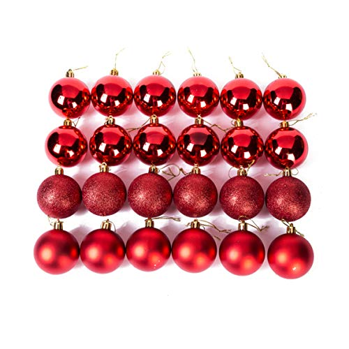 Xena 24 Piece Elegant Vintage Matte Shiny Glitter Red Assortment Round Christmas Tree Ball Ornament Set, 2.4 Inches DIY Holiday Present Party Favors Supplies Accessories