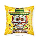 VROSELV Custom Cotton Linen Pillowcase Day Of The Dead Decor Mexican Sugar Skull with Tacos and Chili Pepper November 2nd Colorful Art for Bedroom Living Room Dorm Yellow 12''x12''