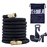 PhoebusTech 4 in 1 Expandable Garden Hose, Extends to 50ft Handy & Kink-Free, 5000 Denier Woven Casing with a 8-Pattern Spray Gun, Hook, Copper Fittings, Free Storage Bag