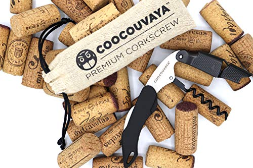 Coocouvaya Wise Products Premium Professional Corkscrew Wine Bottle Opener Black Edition for Wine Lovers, Sommeliers, Waiters and Bartenders Eco friendly pouch and packaging.(1 PACK)