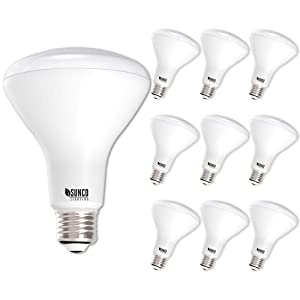 Sunco Lighting 10 Pack BR30 LED Bulb, 11W=65W, 5500K Daylight, 850 LM, E26 Base, Dimmable, Indoor/Outdoor Flood Light - UL & Energy Star