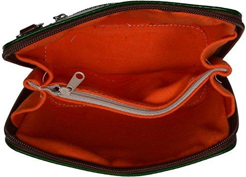 784f2251acdc8 ... Schöne praktische Leder Grüne Handtasche aus Leder Grana Verde Marrone  über die Schulter ...