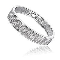 Qianse *Princess Snow* Endless Shinny Austrian Preciosa Crystal Pave Bangle Bracelet, Women Jewelry