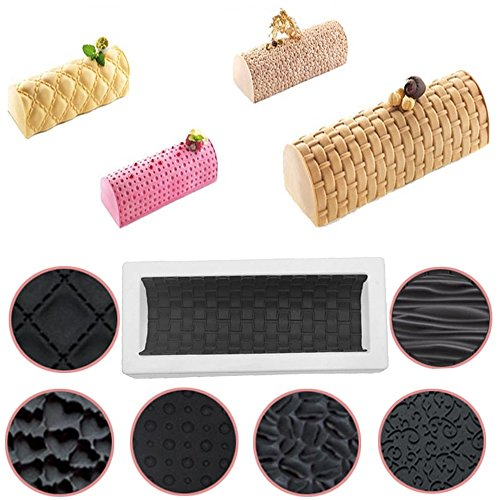 New Arrival Set of 8 Silicone Wood Heart Shape Texture Mat Non-Stick Cake Molds Baking Twinkie Mousse Buche Log Kit Dessert Bakeware DIY Cakes Pan Mold Tools by D&B Kitchen Tools
