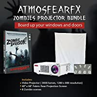 Amosfearfx Zombie Invasion Video Projector Bundle.includes Projector, Dvd and window projectio Screen.