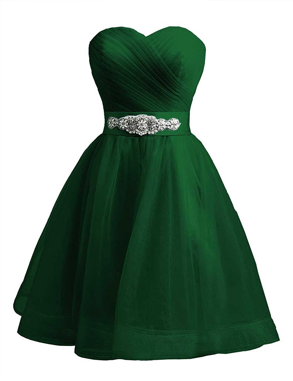 Dark Green Uther Sweetheart Beaded ALine Homecoming Dress Short Cocktail Dress Tulle Porm Gown