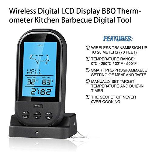 6 Wireless Digital Thermometer Barbecue Temperature