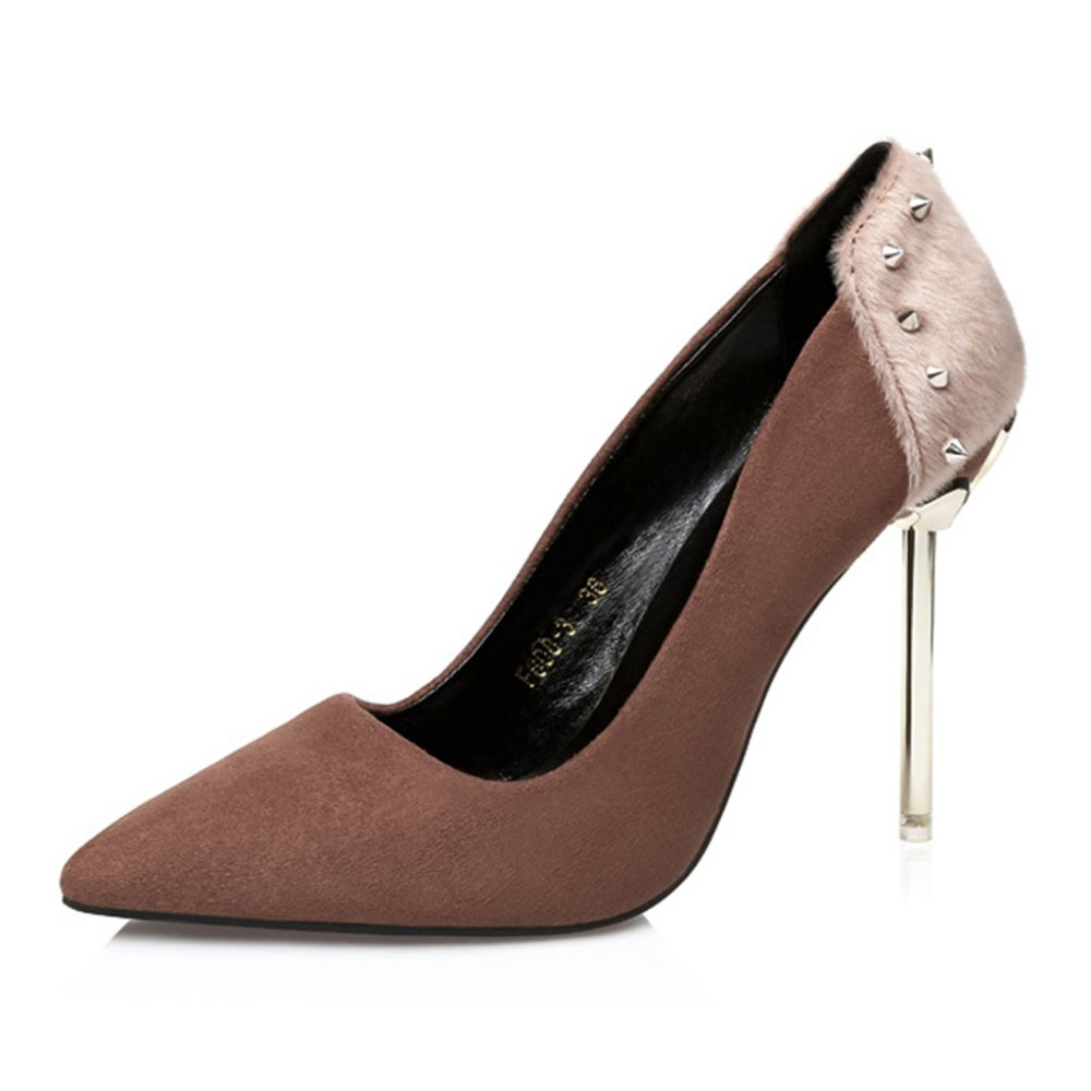 Mode Nieten Closed Toe Pumps Flach High Heels Stiletto Schuhe Abendkleid Gericht Schuhe Sandalen  EU:36/UK:4|Brown