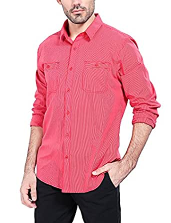 Bentibo Mens Red Twill Chambray Long Sleeve Button Front Casual Dress Shirt Relaxed Fit S