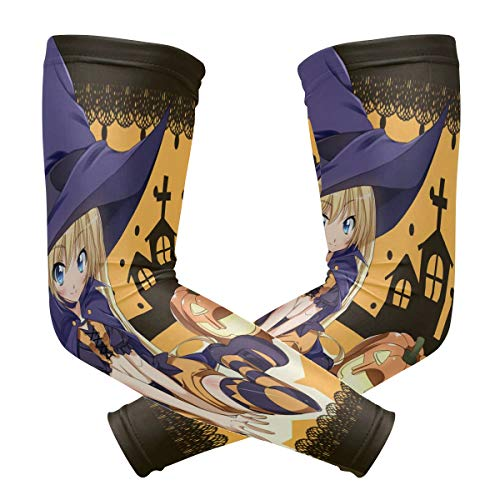 Arm Sleeves Cool Anime Halloween Wallpaper Mens Sun UV Protection Sleeves Arm Warmers Cool Long Set Covers ()