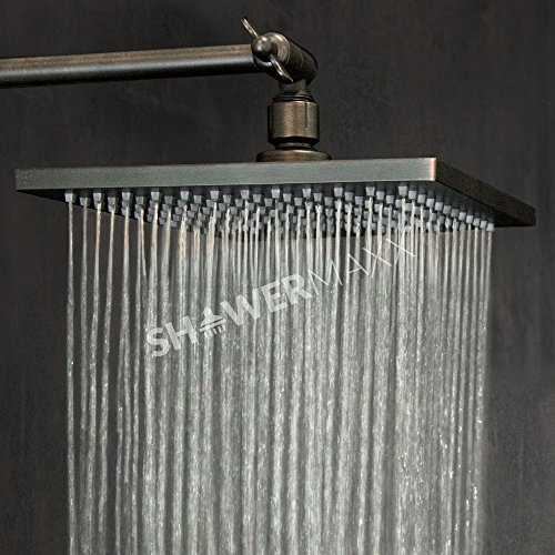 ShowerMaxx |Premium 8 inch Square High Pressure Luxury Spa Rainfall Shower Head- Removable Restrictor for Waterfall Rainshower- Self Cleaning High Flow Nozzles–Oil Rubbed Bronze Finish Rain (Bronze Rainfall Showerhead)