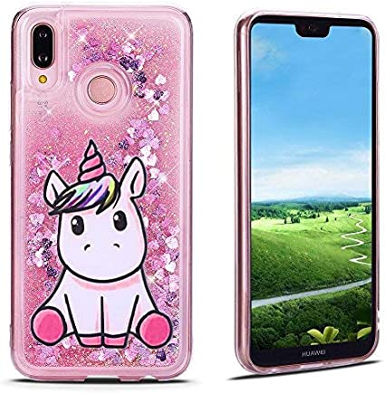 MoEvn Cover Huawei P20 Lite Custodia, Unicorno 3D Glitter Liquido Trasparente Sabbie Mobili Morbida TPU Silicone Bling Sparkle Quicksand Antiurto ...