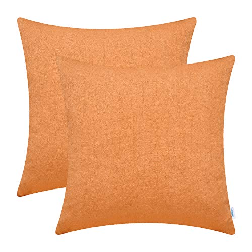 CaliTime Pack of 2 Soft Throw Pillow Covers Cases for Couch Sofa Home Decor Solid Faux Linen Woven Texture 18 X 18 Inches Bright Orange