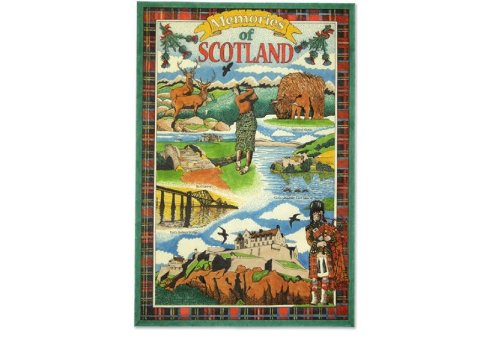 Memories of Scotland Tea Towel Souvenir Gift Scottish Red Tartan (Tartan Tea)
