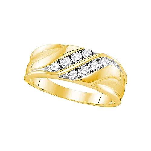 Anillo de boda redondo de oro amarillo de 10 quilates para hombre con diamantes de 1