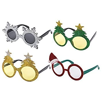 dfbff3eb46f4 Pack of 4 Assorted Novelty Christmas Fancy Dress Glasses  Amazon.co.uk   Toys   Games