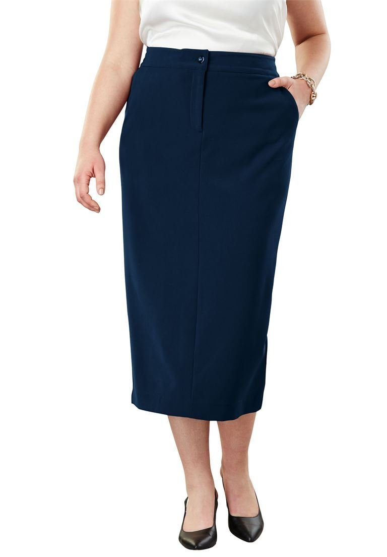 Jessica London Women's Plus Size Tummy Control Bi-Stretch Midi Skirt Twilight