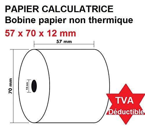 10 rollos de recarga para calculadoras y cajas registradoras con impresió n no té rmica, 1 bobina de papel elé ctrica, 57 x 70 x 12 mm, color blanco UNIVERS GRAPHIQUE ugrel01