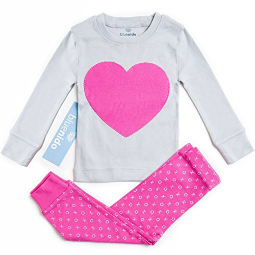 SUPER SOFT HEART 2 PIECE PAJAMA SET 100% COTTON (SIZE 12M-7Y) 2 FREE GIFTS, 7 Years, PINK / GREY (How To Dress As A Pirate)