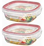 Rubbermaid Lock-its 3-Cup Square Food-Storage Container with Lid - Pack of 2